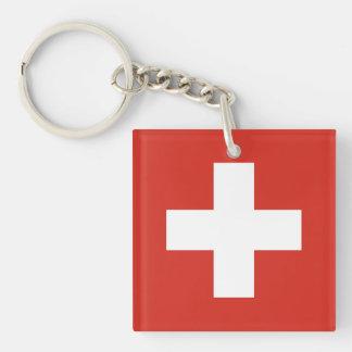 National Flag of Switzerland Double-Sided Square Acrylic Keychain