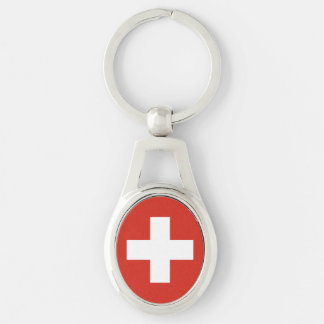 National Flag of Switzerland Silver-Colored Oval Keychain