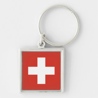 National Flag of Switzerland Silver-Colored Square Keychain