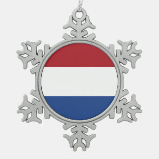 National Flag of the Netherlands, Holland, Dutch Snowflake Pewter Christmas Ornament