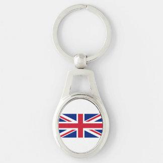 National Flag of the United Kingdom UK, Union Jack Silver-Colored Oval Keychain