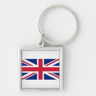 National Flag of the United Kingdom UK, Union Jack Silver-Colored Square Keychain