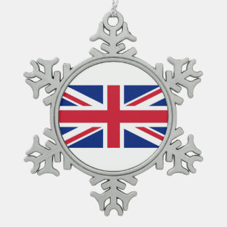 National Flag of the United Kingdom UK, Union Jack Snowflake Pewter Christmas Ornament