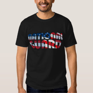 NATIONAL GUARD in Waving American Flag Font Tee Shirt