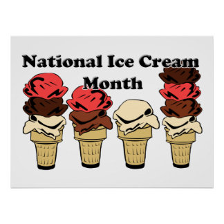 National Ice Cream Month Poster