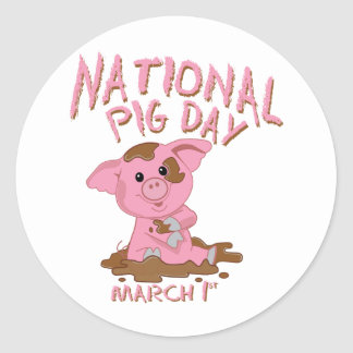 National pig day round stickers