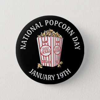 National Popcorn Day January 19th Button