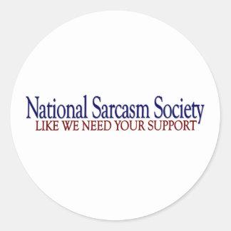 National Sarcasm Society Round Stickers
