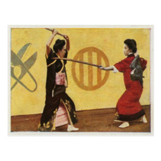 National Sport In 1920 Vintage Style From Japan Postcard
