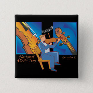 National Violin Day 2 Inch Square Button