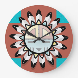 Native American Abstract Art Hopi Mask Large Clock