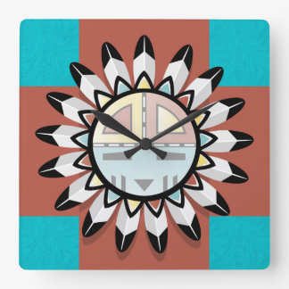 Native American Abstract Art Hopi Mask Square Wall Clock