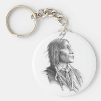 Native American Basic Round Button Keychain
