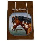 Native American Bay Pinto Horse Brown Medium Gift Bag