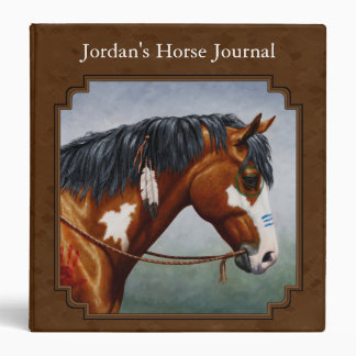 Native American Bay Pinto Horse Brown Vinyl Binder