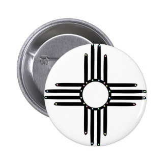 Native American beaded Zia 2 Inch Round Button
