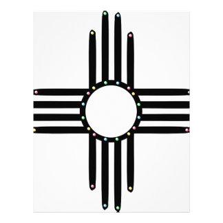 Native American beaded Zia Letterhead Template
