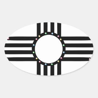 Native American beaded Zia Oval Sticker
