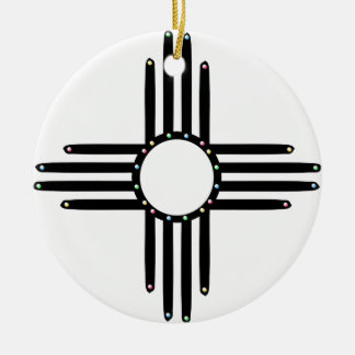 Native American beaded Zia Round Ceramic Ornament