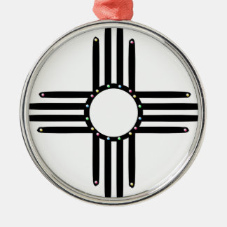 Native American beaded Zia Silver-Colored Round Ornament