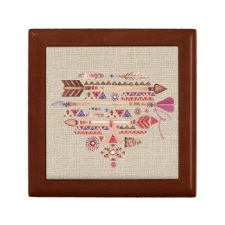 Native American Boho Feathers Arrows Heart Gift Box