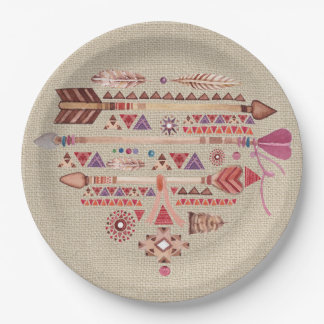 Native American Boho Feathers Arrows Heart Paper Plate