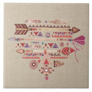 Native American Boho Feathers Arrows Heart Tile