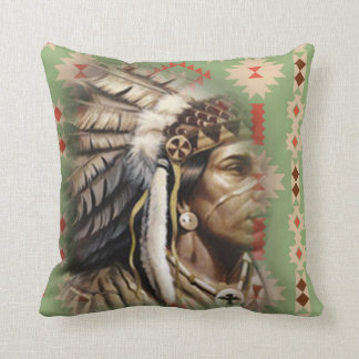 Native American Brave Throw Pillow