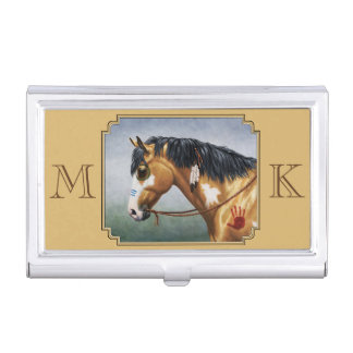 Native American Buckskin Pinto Horse Business Card Holder