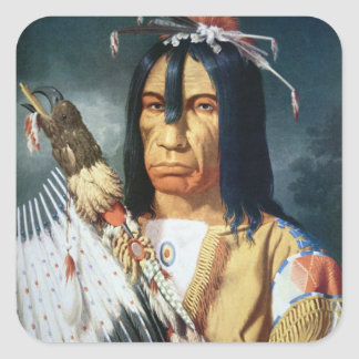 Native American Chief of the Cree people of Canada Square Sticker