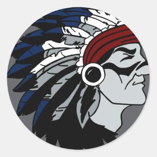 Native American Chief Round Sticker