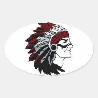 Native American Chief Oval Sticker