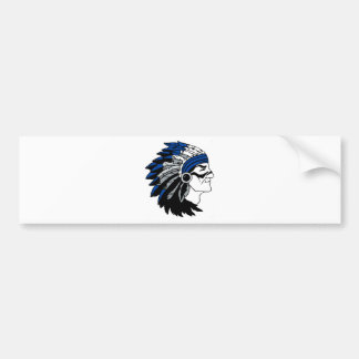Native American Chief with Red Headress Bumper Sticker