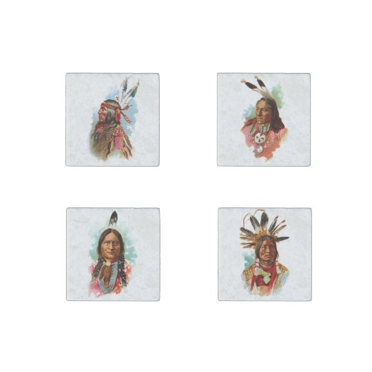 Native American Chiefs Stone Magnets