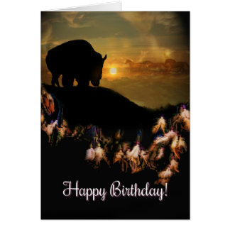 Native American Dream Catcher Buffalo Birthday Card