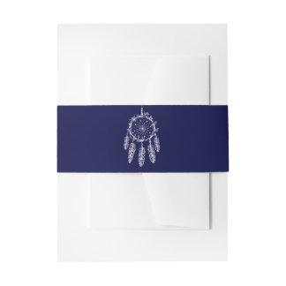 Native American Dream Catcher Navy Blue Wedding Invitation Belly Band
