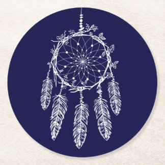 Native American Dream Catcher Navy Blue Wedding Round Paper Coaster