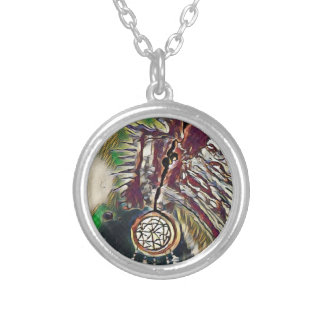 Native American Dreamcatcher Silver Plated Necklace