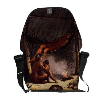 Native American Family under a Leaf Shelter (colou Messenger Bags