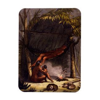 Native American Family under a Leaf Shelter (colou Vinyl Magnets