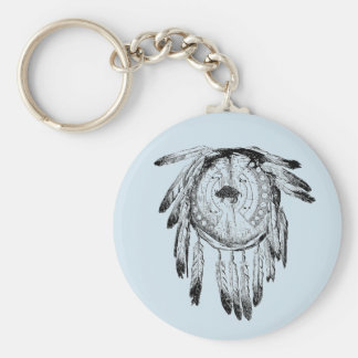 Native American Feathered Dreamcatcher Keychain