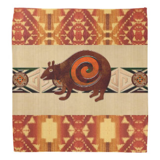 Native American Folk Art Red Bear Bandana