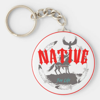 Native American for Life Basic Round Button Keychain