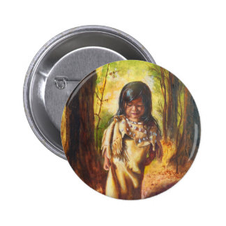Native American Girl 2 Inch Round Button