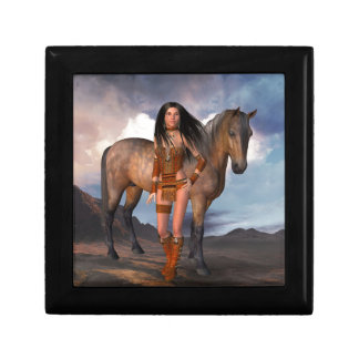 Native American Girl Bay Horse Gift Box
