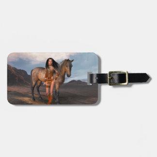 Native American Girl Bay Horse Luggage Tag
