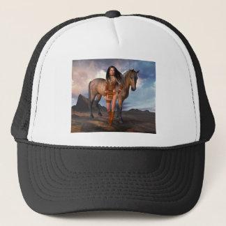Native American Girl Bay Horse Trucker Hat