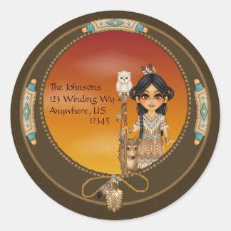 Native American Girl Classic Round Sticker