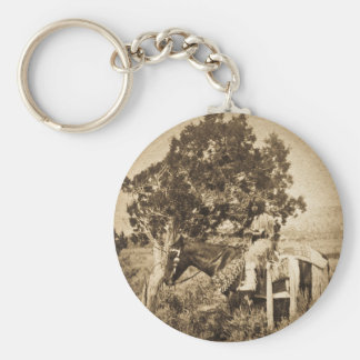 Native American Girl on Horseback Basic Round Button Keychain
