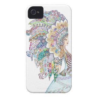 Native American Girl's Headdress art iPhone 4 Case-Mate Cases